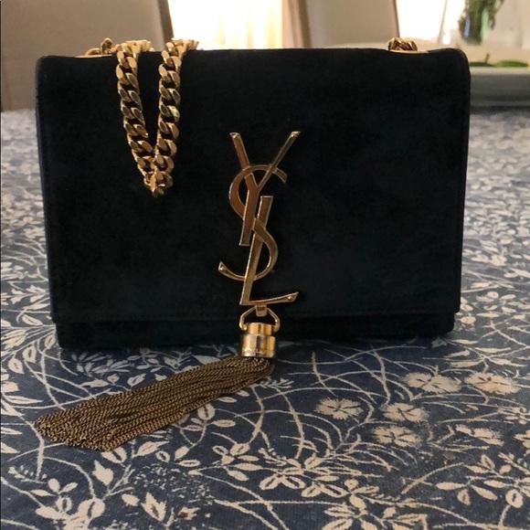 3abb4940e30 Yves Saint Laurent Bags | Ysl Tassel Chain Bag Suede Black And Gold ...